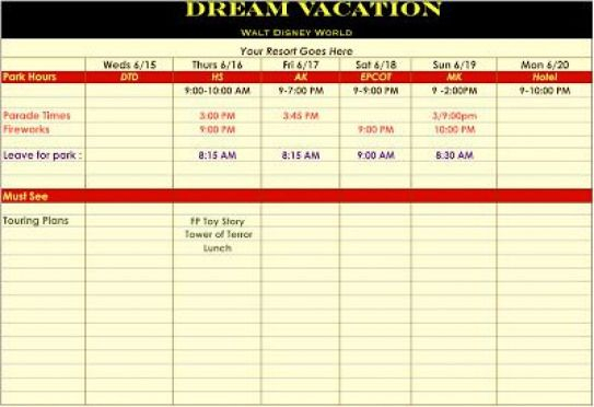 Template For Disney Vacation Itinerary. # with Disneyland Itinerary Template