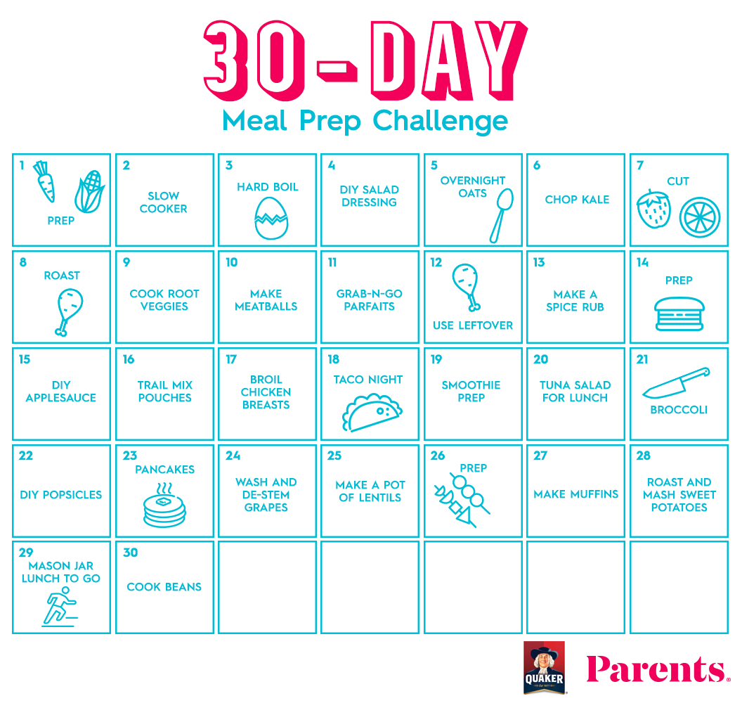The 30Day Meal Prep Challenge | Parents for 30 Days Calendar Template