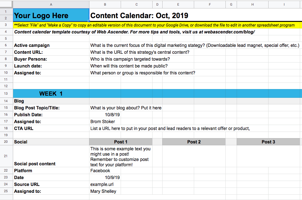 The Content Calendar Template For Your Blog And Social in Google Docs Editorial Calendar Template