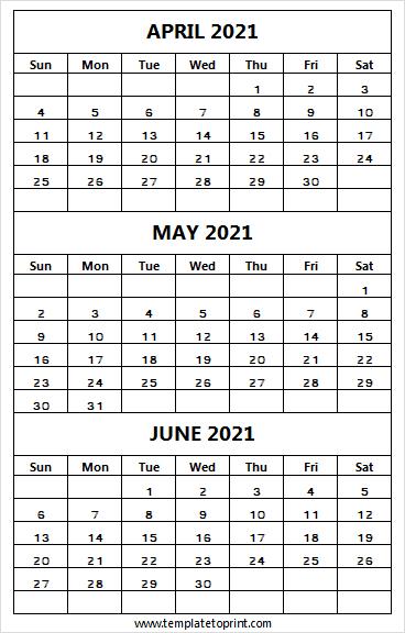 Three Month Calendar April To June 2021   Printable 2021 in Three Month Printable Calendar 2021