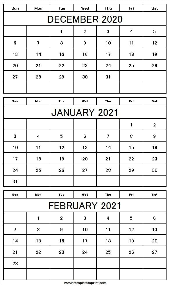 Three Month December 2020 To February 2021 Calendar in Last 3 Month Of 2021 Calendar