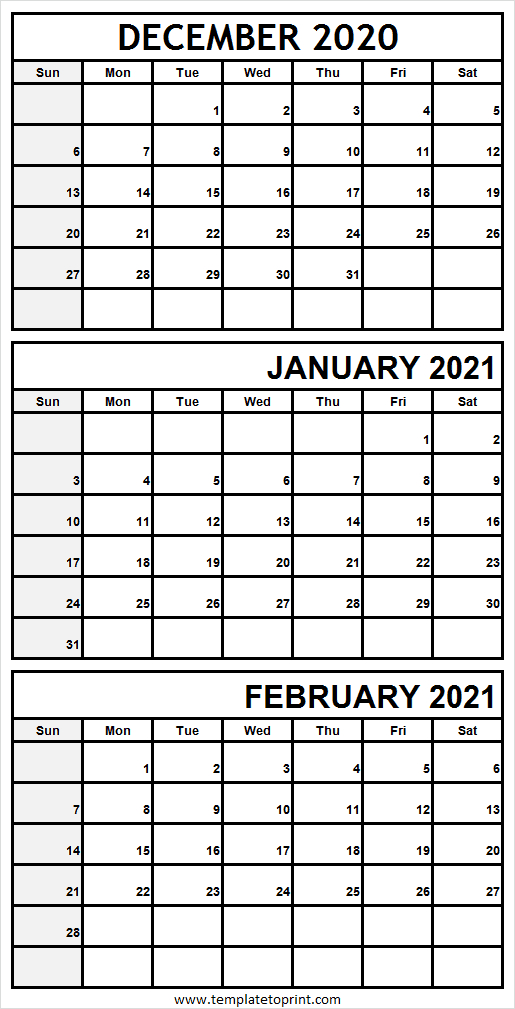 Three Month December 2020 To February 2021 Calendar pertaining to Blank Printable Calendars 3 Month 2021