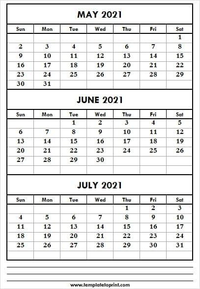 Three Month May To Jul 2021 Calendar   Calendar 2021 Free in Three Month Printable Calendar 2021