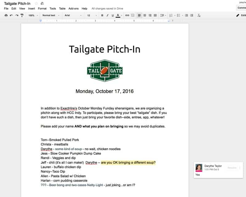 Top 6 Moments From Monday Funday: Tailgate Edition   Exacthire in Football Potluck Sign Up Sheet