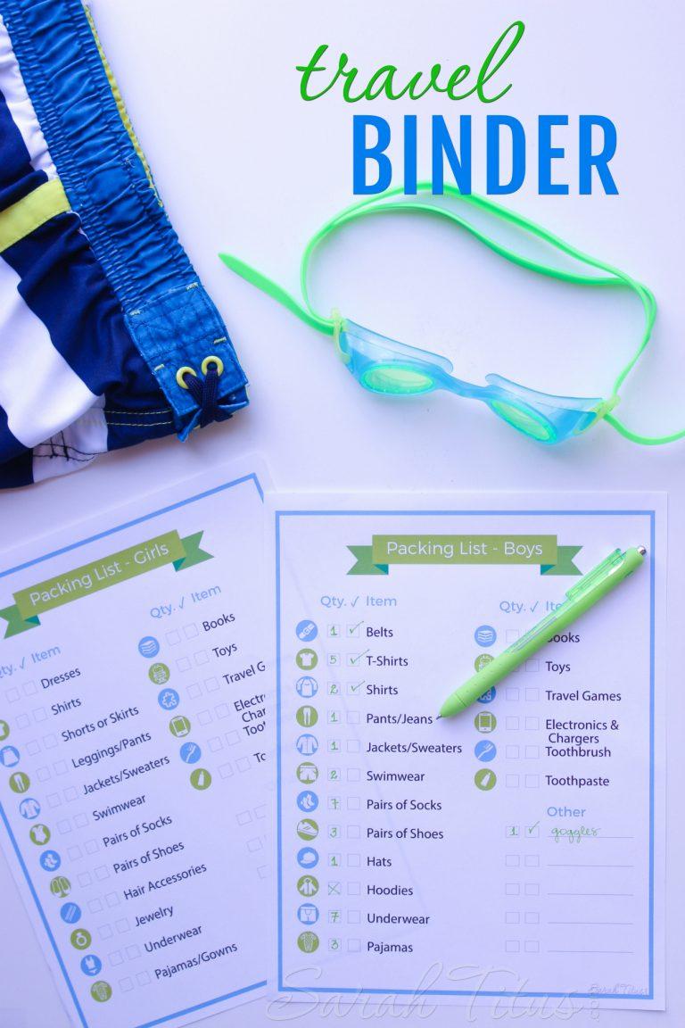Travel Binder Printables  Sarah Titus | From Homeless To intended for Sarah Titus Printables