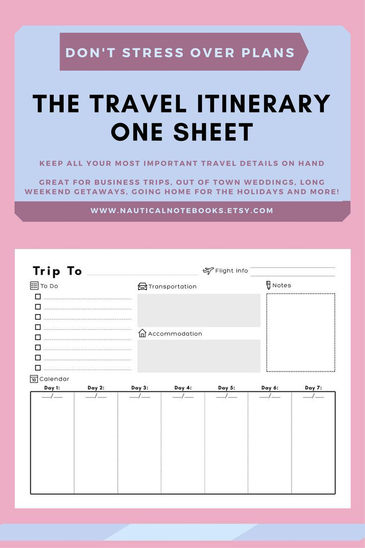 Travel Itinerary Template | Printable Vacation Trip in Disneyland Itinerary Template