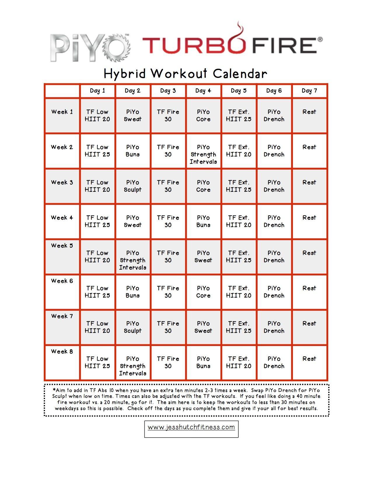 Turbo Fire Calendar Week 5 | Calendar Printables Free regarding Piyo Calendar Printable