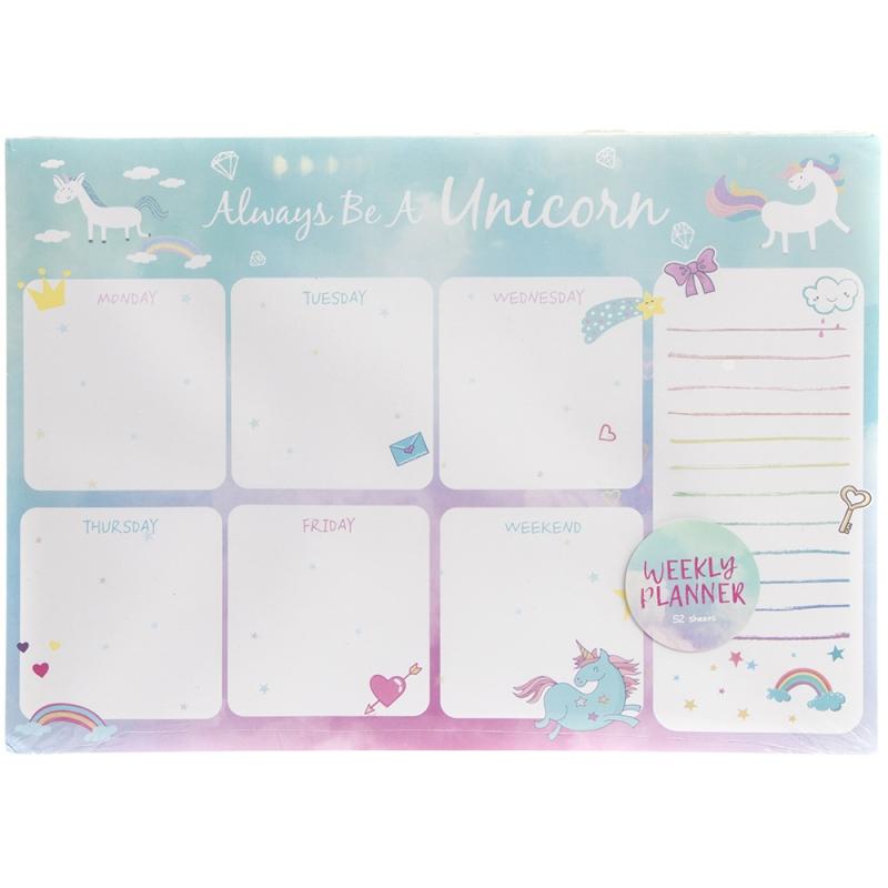 Unicorn Weekly Calendar Planner Desk Organiser Pad within Advice From A Unicorn Desk Calendar