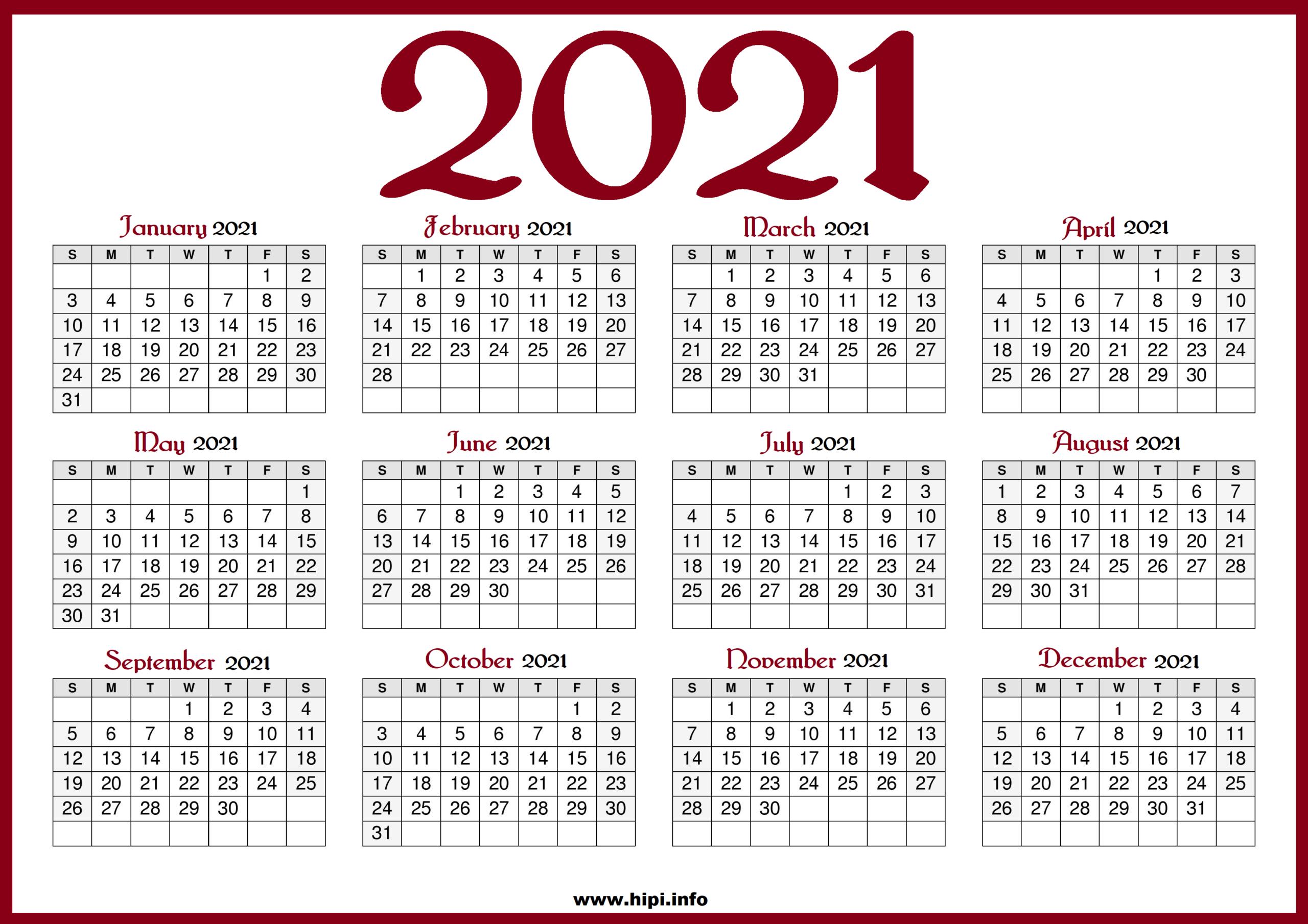 Us Printable Calendar 2021   Printable Calendar 2021 for 2021 Calendar Free Printable