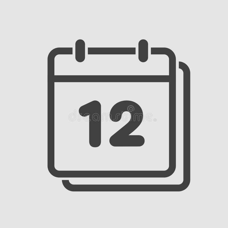 Vector Icon Calendar Day, Number 12, Line Flat Stock with Year Calendar Icon