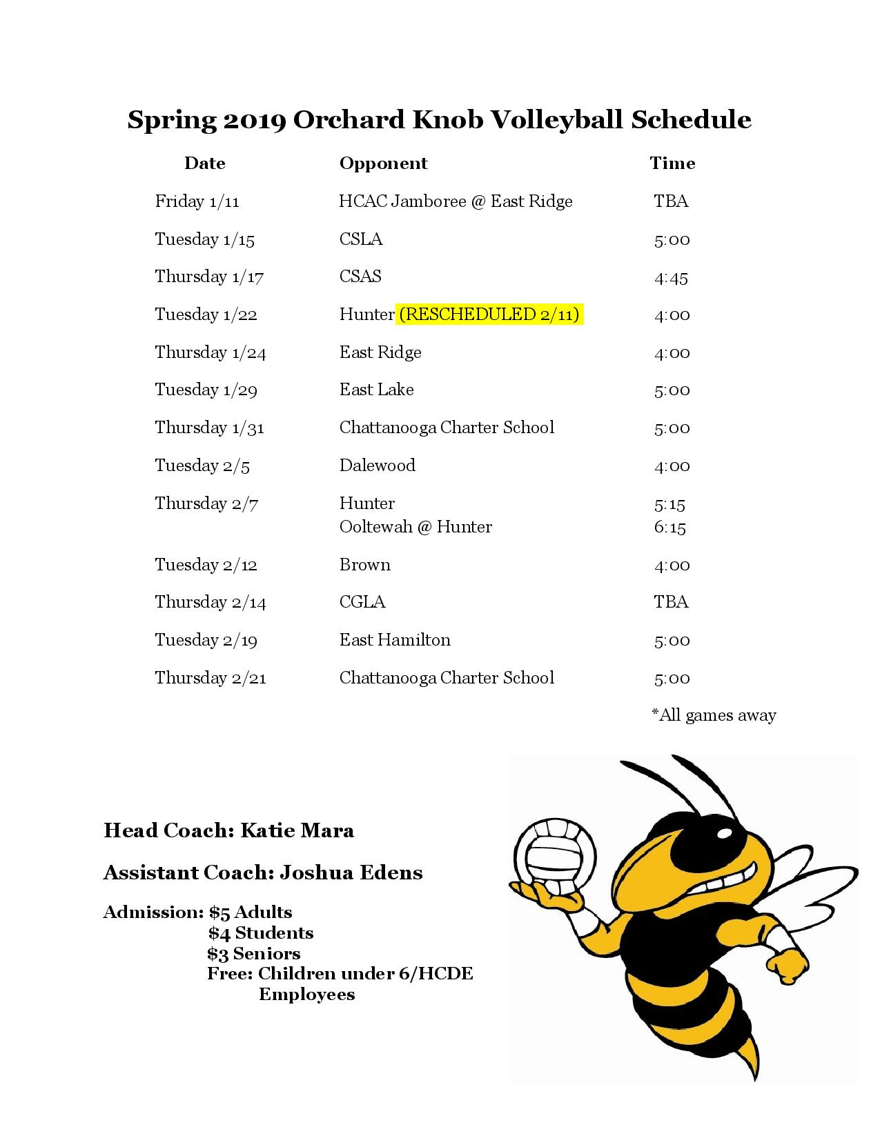 Volleyball  Orchard Knob Middle School throughout Orchard School Calendar