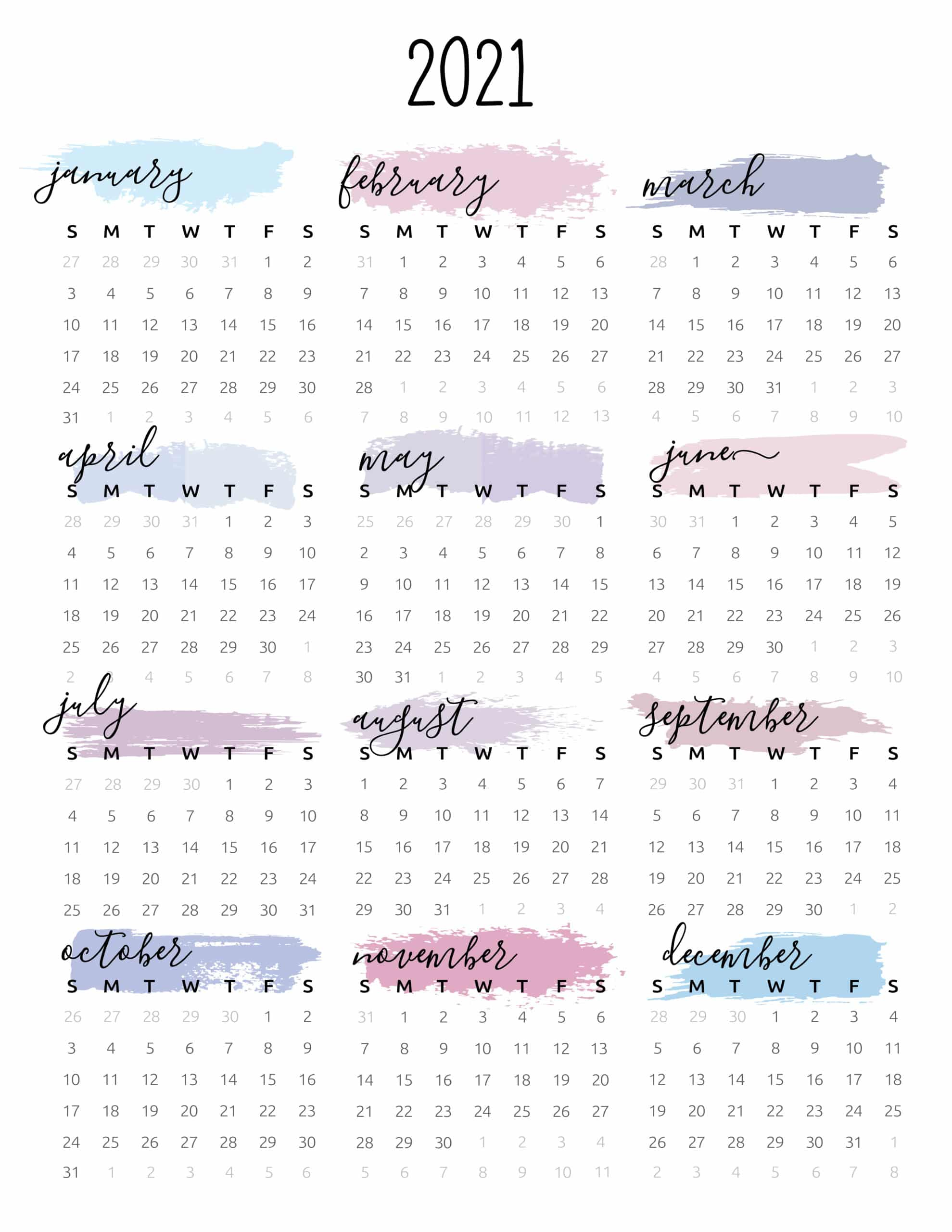 Watercolor One Page 2021 Calendar  World Of Printables within Free 3 Month Calendar One Page 2021