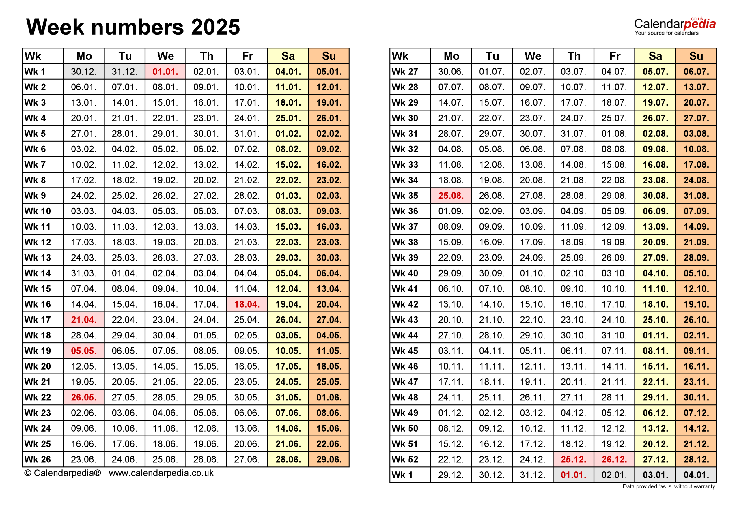 Week Numbers 2025 With Excel, Word And Pdf Templates with regard to Two Week Calendar Template Word
