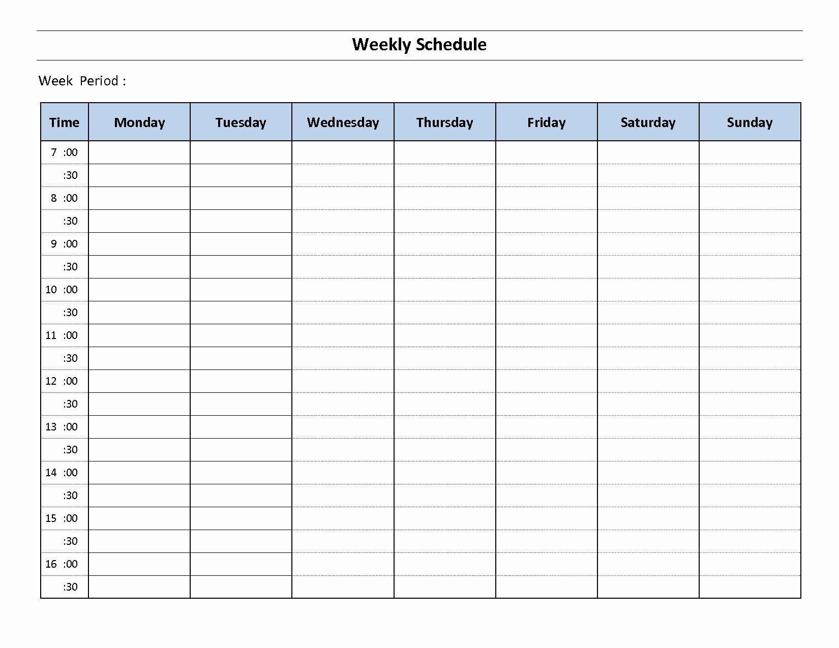Week Planner Template Word Elegant 7 Day Weekly Planner with 7 Day Planner Template