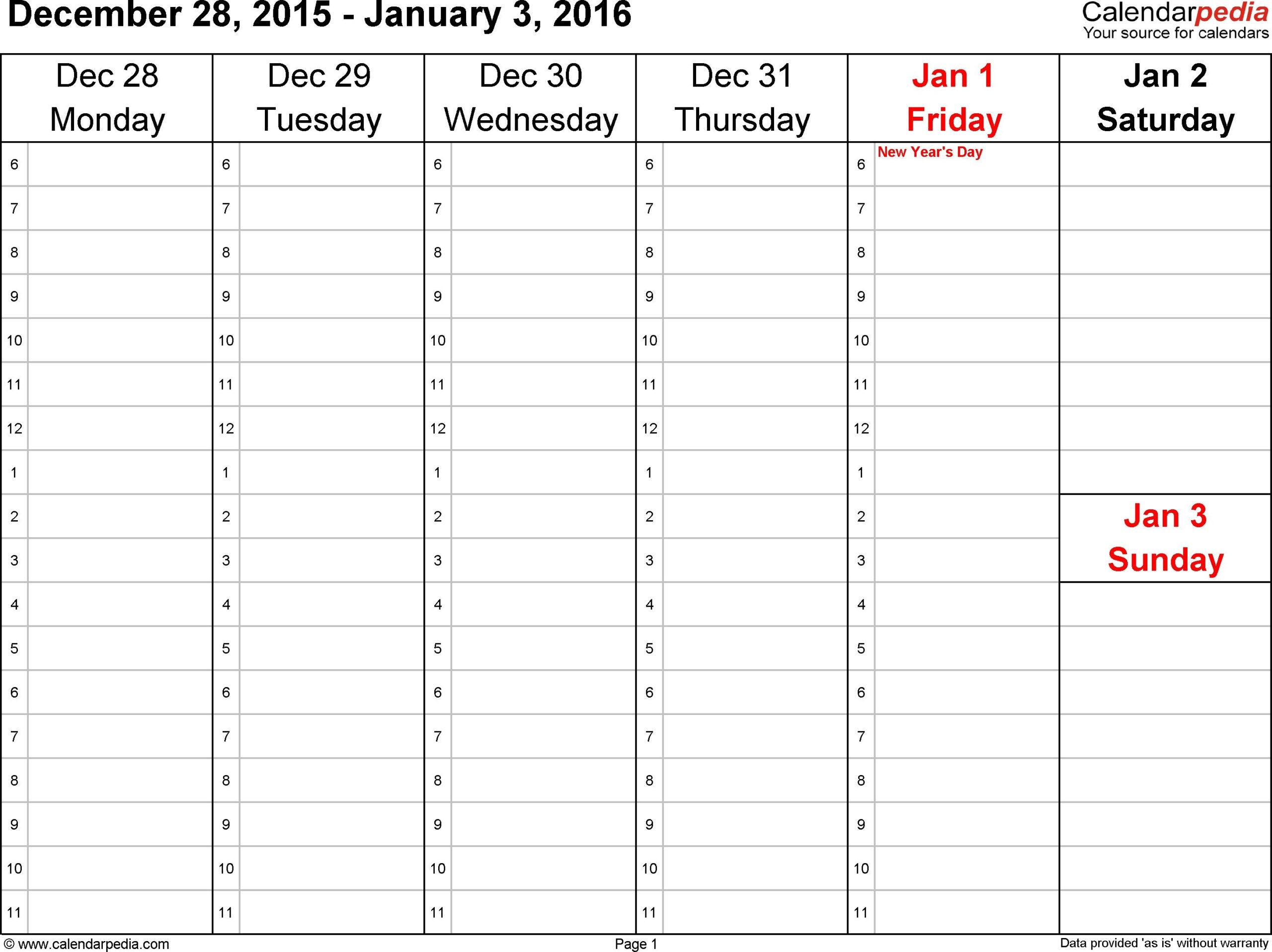 Weekly Calendar 2016 For Word  12 Free Printable inside One Week Calendar Template Word