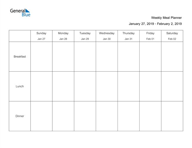 Weekly Calendar  January 27, 2019 To February 2, 2019 pertaining to Two Week Calendar Template Word
