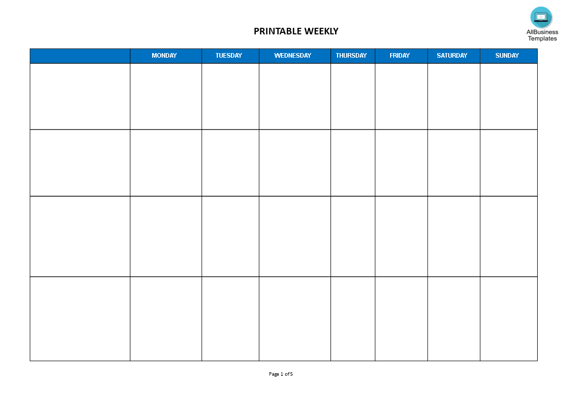 Weekly Calendar Landscape Format | Templates At regarding One Week Calendar Template Word