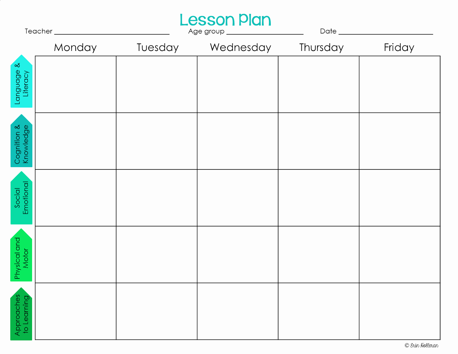 Weekly Lesson Plan Blank Template   Example Calendar Printable throughout Lesson Calendar Template