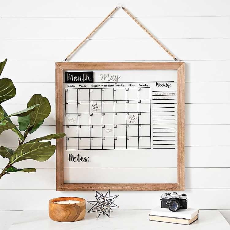 Wood Framed Wall Calendar Dry Erase Board In 2020   Dry throughout Wall Calendar Frames