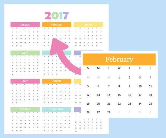 Year At A Glance Calendar For 2017 And 2018. Printable in Year At A Glance Calendar Template