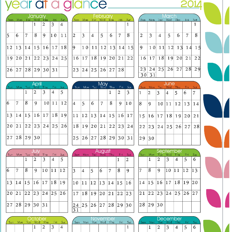 Year At A Glance Calendar Printable  Calendar Template 2021 intended for Year At A Glance Calendar Template