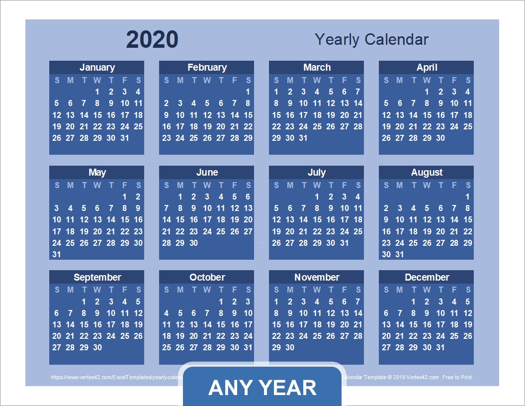 Year Long Calendar Excel | Month Calendar Printable in Vertex Free Calendar