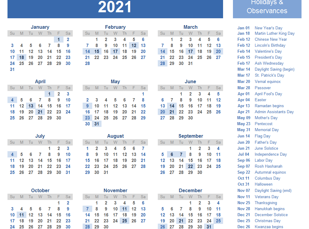 Yearly 2021 Printable Calendar Template  Pdf, Word, Excel inside 2021 Word Calendar Wincalendar
