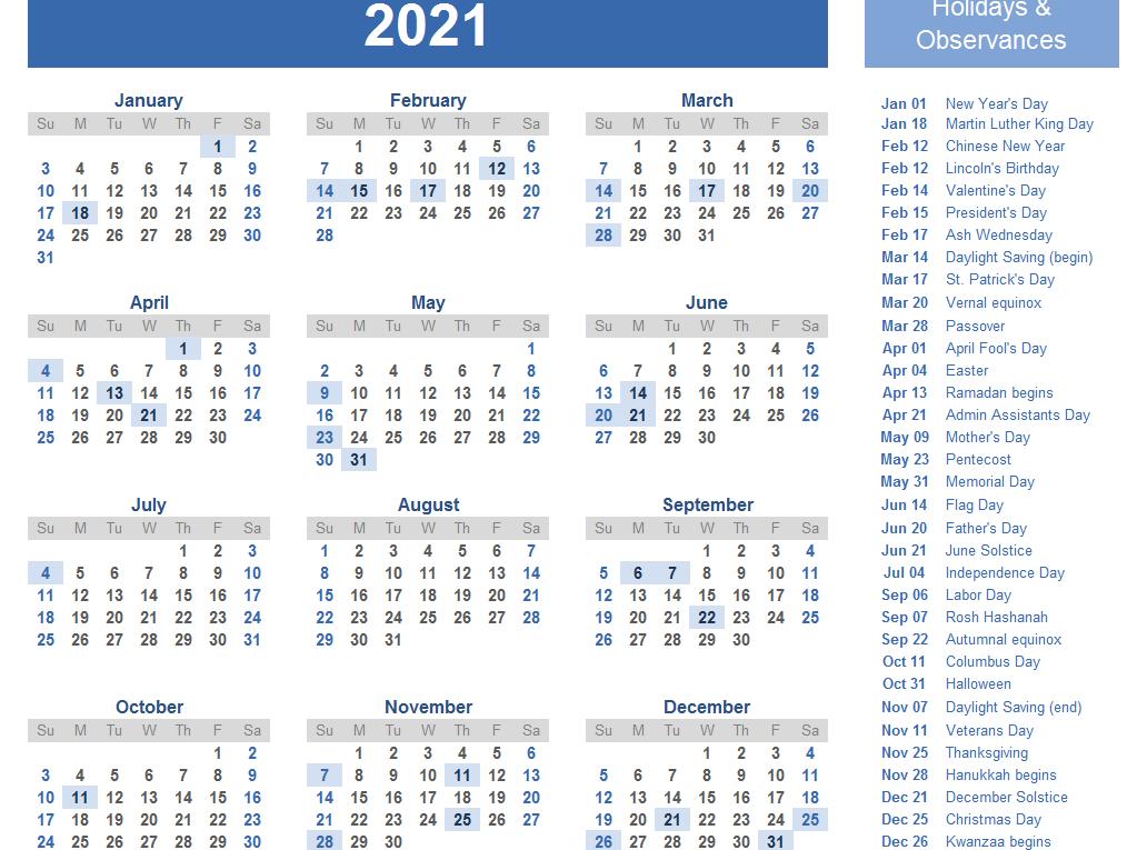 Yearly 2021 Printable Calendar Template  Pdf, Word, Excel regarding 2021 Excel Printable Calendars