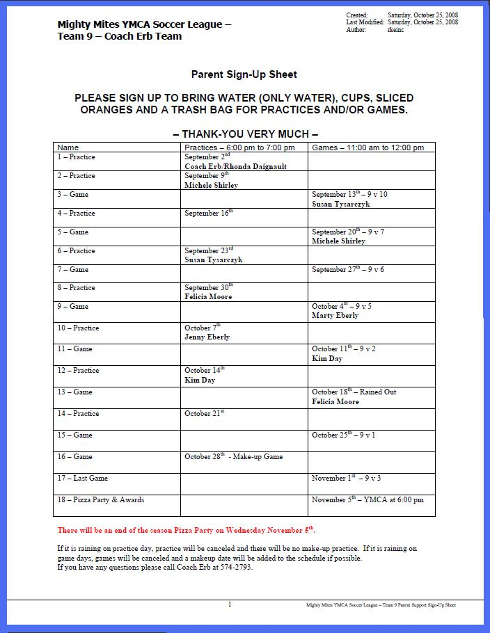 Ymca Mighty Mites Soccer League  Coach Erb'S Team pertaining to Football Potluck Sign Up Sheet